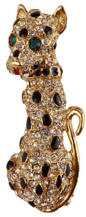 """Винтажная брошь """"Леопард"""" в стиле Фаберже. Бижутерный сплав, эмаль, кристаллы. Конец XX века"""