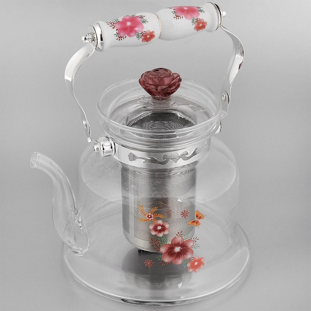 Чайник заварочный Bekker Koch, цвет: красный, 1,2 л. ВК-7619ВК-7619 красные цветыЗаварочный чайник Bekker Koch выполнен из жаростойкого стекла, которое хорошо удерживает тепло. Ручка и съемное ситечко внутри чайника выполнены из высококачественной нержавеющей стали. Высокая ручка чайника, снабженная фарфоровой насадкой, позволяет с легкостью удерживать его на весу. Съемное ситечко для заварки предотвращает попадание чаинок и листочков в настой. Заварочный чайник украшен изящным рисунком, что придает ему элегантность. Заварочный чайник из стекла удобно использовать для повседневного заваривания чая практически любого сорта. Но цветочные, фруктовые, красные и желтые сорта чая лучше других раскрывают свой вкус и аромат при заваривании именно в стеклянных чайниках и сохраняют полезные ферменты и витамины, содержащиеся в чайных листах. Высота чайника (без учета ручки и крышки): 14,5 см. Размер съемного ситечка: 9 см х 9 см х 11 см. Диаметр чайника (по верхнему краю): 9,5 см.