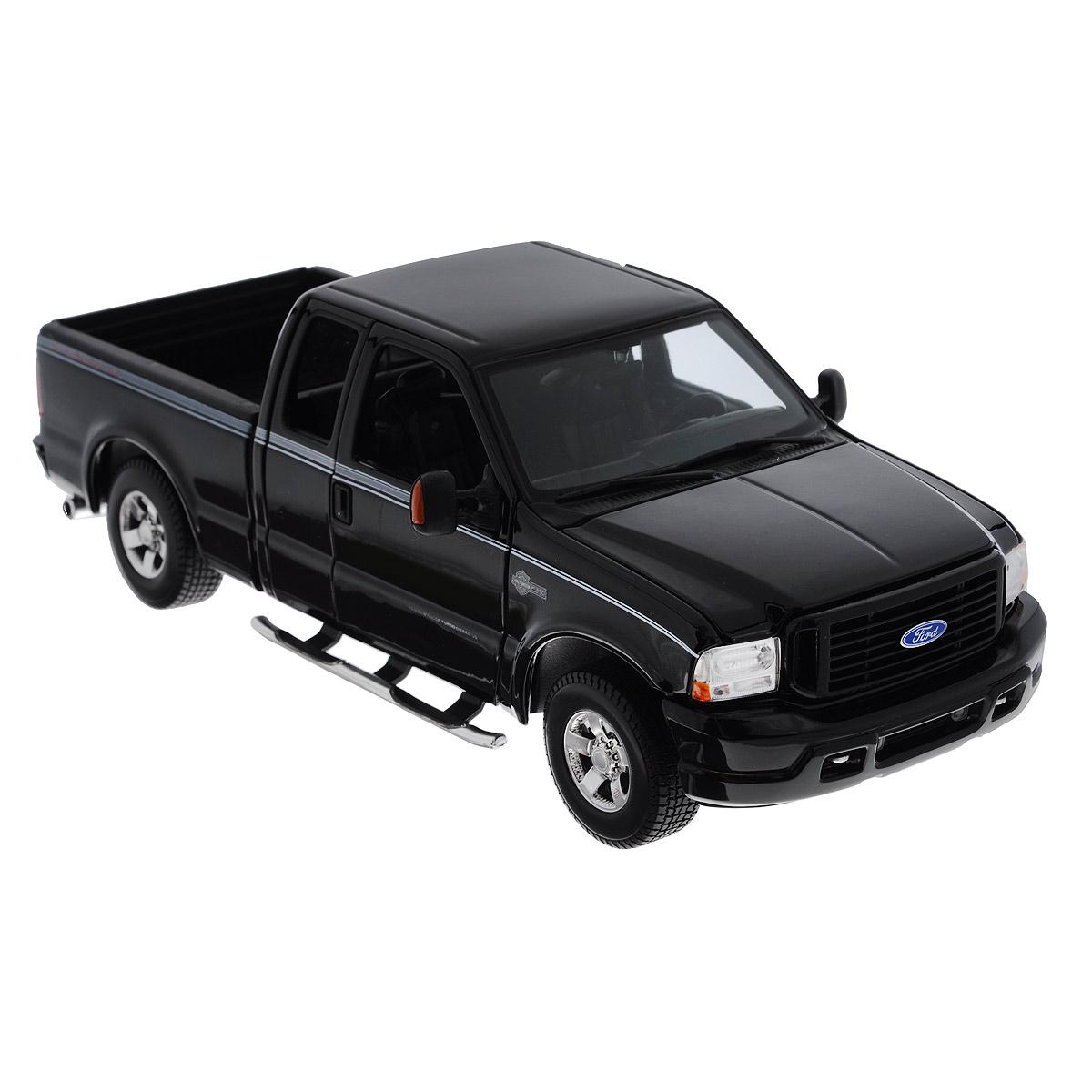 Maisto Модель автомобиля Ford F-350 Harley Davidson цвет черный36690_черный_2645Коллекционная модель Maisto Ford F-350 Harley Davidson - миниатюрная копия настоящего автомобиля. Стильная модель автомобиля привлечет к себе внимание не только детей, но и взрослых. Модель имеет литой металлический корпус с высокой детализацией двигателя, интерьера салона, дисков, протекторов, выхлопной системы, оснащена колесами из мягкой резины. У машинки открываются дверцы кабины и капот, откидывается задний борт, крутятся колеса. Игрушка в точности повторяет модель оригинальной техники, подробная детализация в полной мере позволит вам оценить высокую точность копии этой машины! Такая модель станет отличным подарком не только любителю автомобилей, но и человеку, ценящему оригинальность и изысканность, а качество исполнения представит такой подарок в самом лучшем свете.