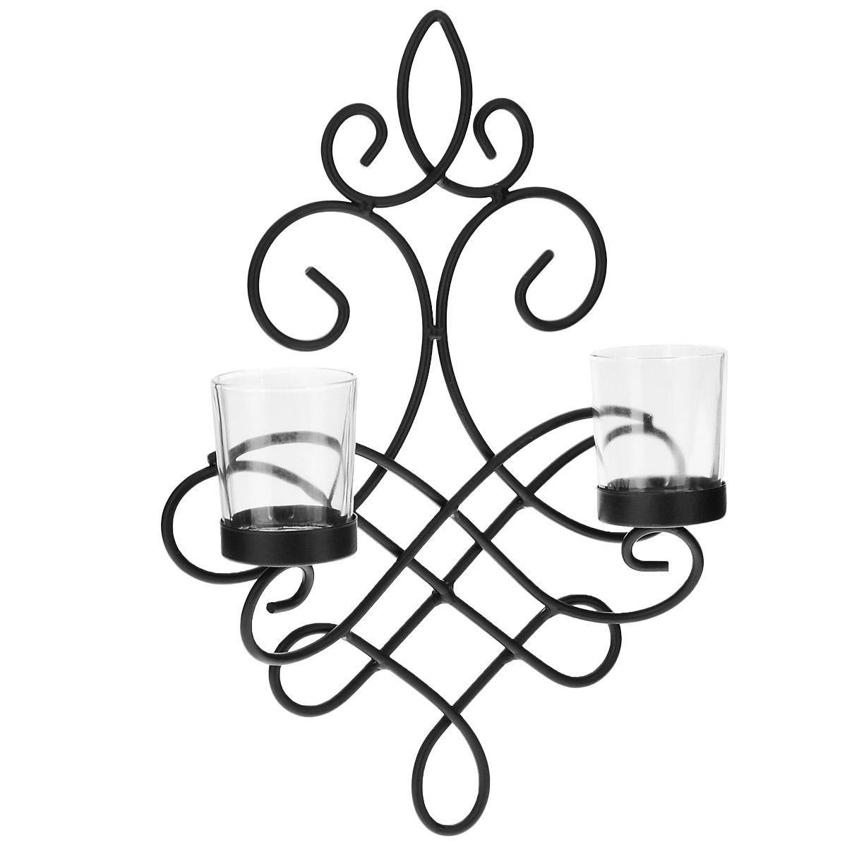 Подсвечник настенный Gardman Lille, 33 х 24 см19614Настенный подсвечник Gardman Lille, выполненный из металла черного цвета в готическом стиле, рассчитан на две свечи. В подставки помещаются два стеклянных стакана для свечей. Подсвечник великолепно украсит интерьер помещения, а также прекрасно будет смотреться в саду, если его прикрепить к кирпичной стене (крепления в комплект не входят). Поместите свечу-таблетку в стакан, зажгите ее и наслаждайтесь атмосферой загадочности и уюта. Размер подсвечника: 33 см х 24 см. Диаметр стаканов для свечей: 5 см. Высота стаканов для свечей: 6,5 см.