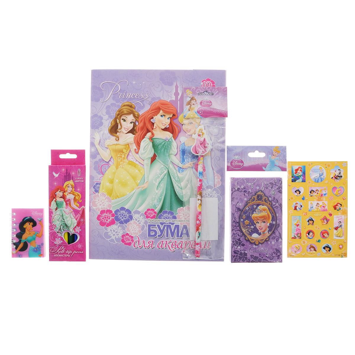 Канцелярский набор Disney Princess. PRСZ-US1-AZ15-PVCPRСZ-US1-AZ15-PVCКанцелярский набор Disney Princess станет незаменимым атрибутом в учебе любой школьницы. Он включает в себя 10 листов бумаги для акварели, чернографитный карандаш с ластиком, 6 фломастеров, телефонную книжку, лист с объемными стикерами и небольшой блокнотик на спирали. Все предметы набора оформлены изображениями диснеевских принцесс. УВАЖАЕМЫЕ КЛИЕНТЫ! Обращаем ваше внимание на возможные изменения в дизайне предметов набора, связанные с ассортиментом продукции. Поставка осуществляется в зависимости от наличия на складе.
