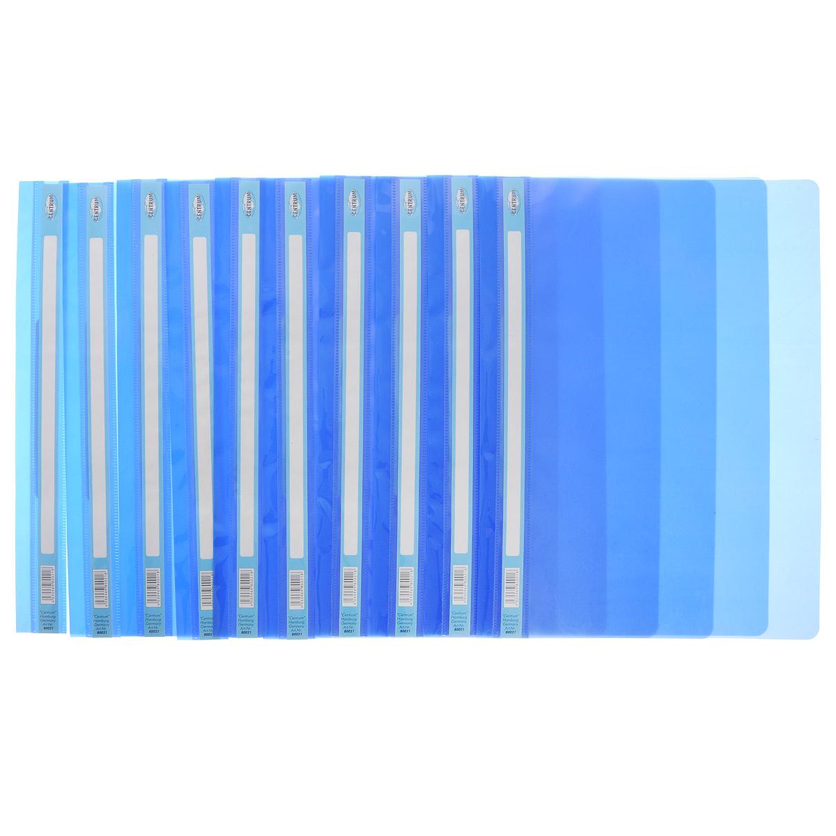 Папка-скоросшиватель Centrum, цвет: синий. Формат А4, 10 шт80021О_синийПапка-скоросшиватель Centrum - это удобный и функциональный офисный инструмент, предназначенный для хранения и транспортировки рабочих бумаг и документов формата А4. Изготовлена из полупрозрачного, прочного пластика, имеет прозрачный верхний лист и более плотный нижний. Папка оснащена металлическими скобками для фиксации перфорированных бумаг. В комплект входят 10 папок формата A4. Папка-скоросшиватель - это незаменимый атрибут для студента, школьника, офисного работника. Такая папка надежно сохранит ваши документы и сбережет их от повреждений, пыли и влаги.