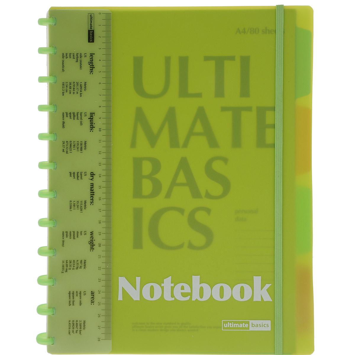 Блокнот NoName Бизнес-блокнот с пластиковой линейкой а4, 80 л. Гр. ultimate basics , разделители, цвет: салатовый