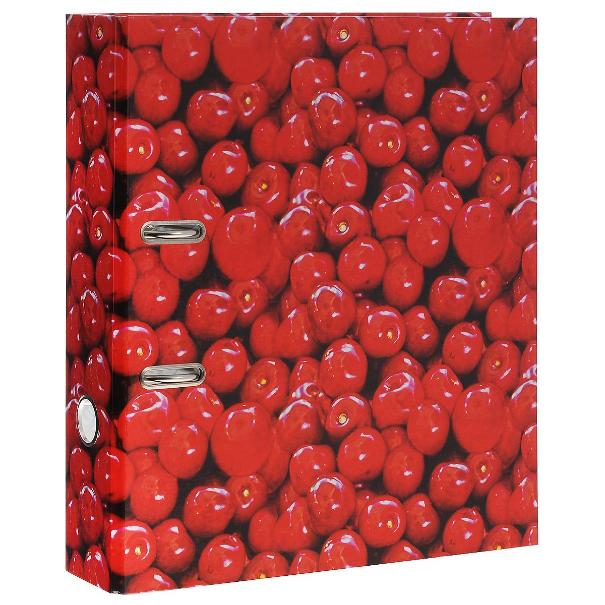 Папка-регистратор Вишня, ширина корешка 70 мм, цвет: красный. IN111103IN111103Папка-регистратор Вишня пригодится в каждом офисе и доме для хранения больших объемов документов. Папка изготовлена из износостойкого высококачественного картона и оформлена изображениями вишенок. Папка оснащена прочным металлическим механизмом, обеспечивающим надежную фиксацию перфорированных бумаг и документов формата А4. Ширина корешка 7 см. Папка-регистратор станет вашим надежным помощником, она упростит работу с бумагами и документами и защитит их от повреждения, пыли и влаги.