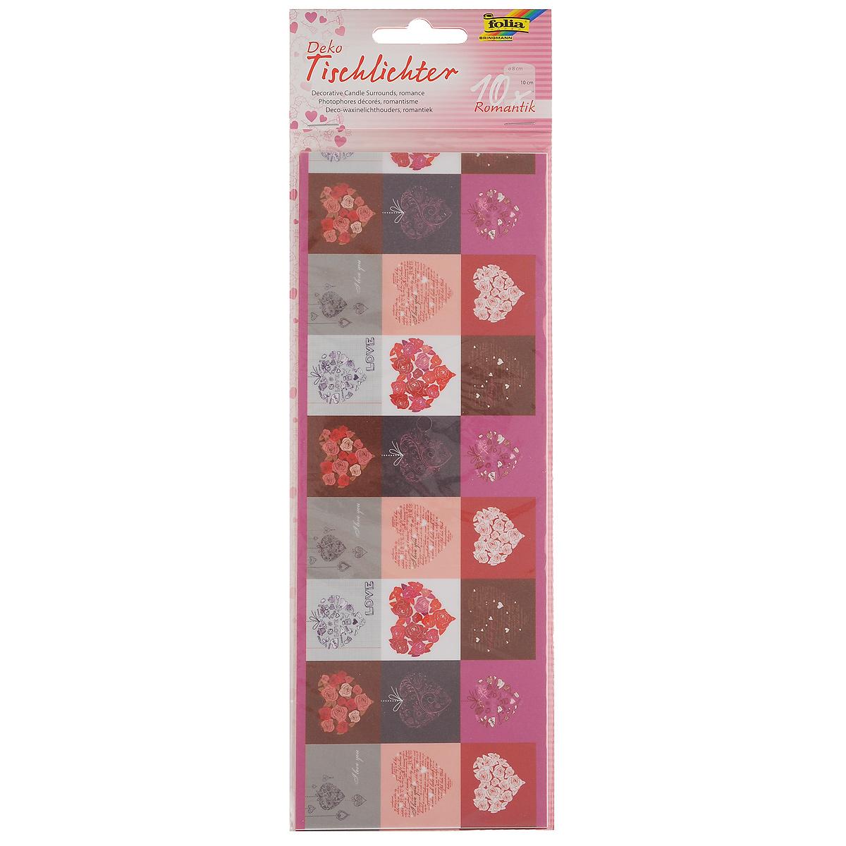 Бумага Folia Романтика для украшения свечей, 10 см х 27 см, 10 листов