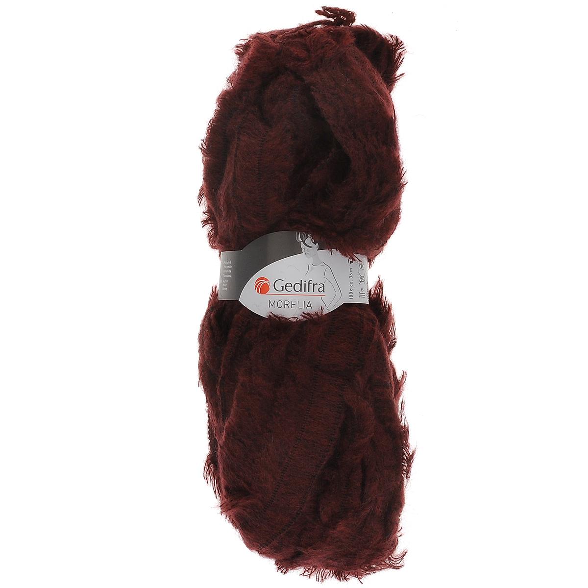Пряжа для вязания Gedifra Morelia, цвет: бордовый (01444), 36 м, 100 г. 9811739-014449811739-01444Пряжа для вязания Gedifra Morelia, изготовленная из 37% полиакрила, 35% полиамида и 28% мохера, имеет уникальную структуру - нить с бахромой. Такая пряжа подходит для сезона осень-зима. Используйте ее для создания яркого акцента или в сочетании с одним из других видов пряжи. С пряжей для ручного вязания Gedifra Morelia вы сможете связать своими руками необычные и красивые вещи. Рекомендованы спицы и крючок №15. Состав: 37% полиакрил, 35% полиамид, 28% мохер. Вес мотка: 100 г. Длина нити: 36 м.