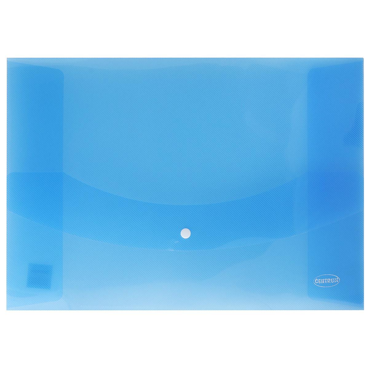 Папка-конверт на кнопке Centrum, цвет: синий. Формат А380626_синийПапка-конверт на кнопке Centrum - это удобный и функциональный офисный инструмент, предназначенный для хранения и транспортировки рабочих бумаг и документов формата А3. Папка изготовлена из полупрозрачного пластика, закрывается клапаном на кнопке. Папка-конверт - это незаменимый атрибут для студента, школьника, офисного работника. Такая папка надежно сохранит ваши документы и сбережет их от повреждений, пыли и влаги.
