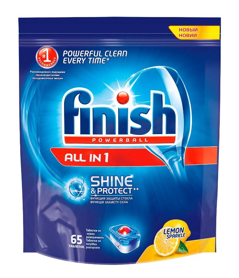 Finish All in 1 Блеск и Защита, Лимон, 65 таблеток8169192Таблетки для посудомоечных машин Finish All in 1 Блеск и Защита обеспечивают сверкающую чистоту и блеск, а также защищают стеклянную посуду от коррозии. Таблетки All in 1 идеальны для использования на коротких циклах - таблетки быстро растворяются. Теперь таблетки не нужно разворачивать! Товар сертифицирован.