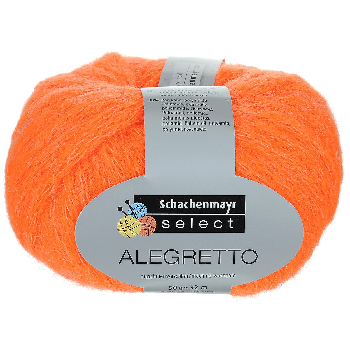 Пряжа для вязания Schachenmayr Select Alegretto, цвет: неоновый оранжевый (08521), 32 м, 50 г. 9811765-085219811765-08521Пряжа Schachenmayr Select Alegretto - это дизайнерская пряжа для создания кутюрных изделий. Изготовленная из 40% полиакрила, 30% мохера и 30% полиамида, такая пряжа очень мягкая, создает впечатление шнура, связанного на крупных спицах. Подходит для вязания верхней одежды, а также для использования в качестве отделки. За счет объема из нее можно быстро вывязывать декоративные элементы. Рекомендованы спицы и крючок №10-12. Толщина нити: 7 мм. Состав: 30% мохер, 40% полиакрил, 30% полиамид. Вес мотка: 50 г. Длина нити: 32 м.