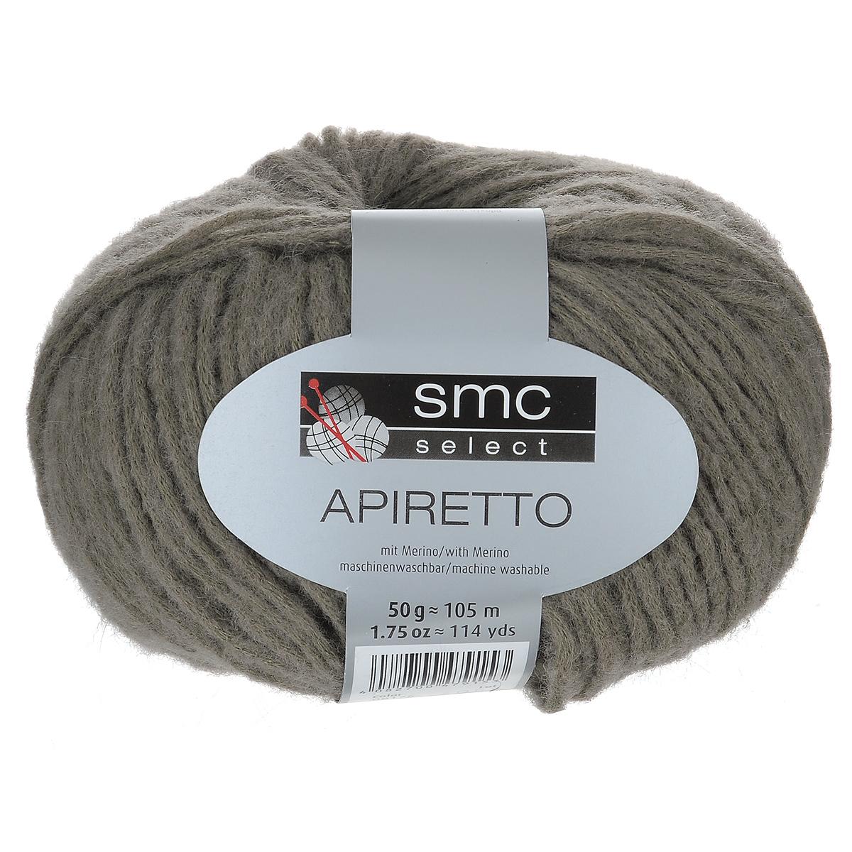 Пряжа для вязания SMC Select Apiretto, цвет: серо-зеленый (8175), 105 м, 50 г. 9811761-81759811761-8175Пряжа для вязания SMC Select Apiretto - это дизайнерская высококачественная пряжа с инновационной технологией производства нити. Произведена путем вдувания шерстяной составляющей в основу из полиамида в виде шнура. При вязании получается эффект в пуху. Готовое изделие рекомендуется постирать, чтобы пряжа распушилась. Рекомендованы спицы и крючок №5-5,5. Толщина нити: 2,5 мм. Состав: 55% полиамид, 35% натуральная шерсть, 10% ангора. Вес мотка: 50 г. Длина нити: 105 м.