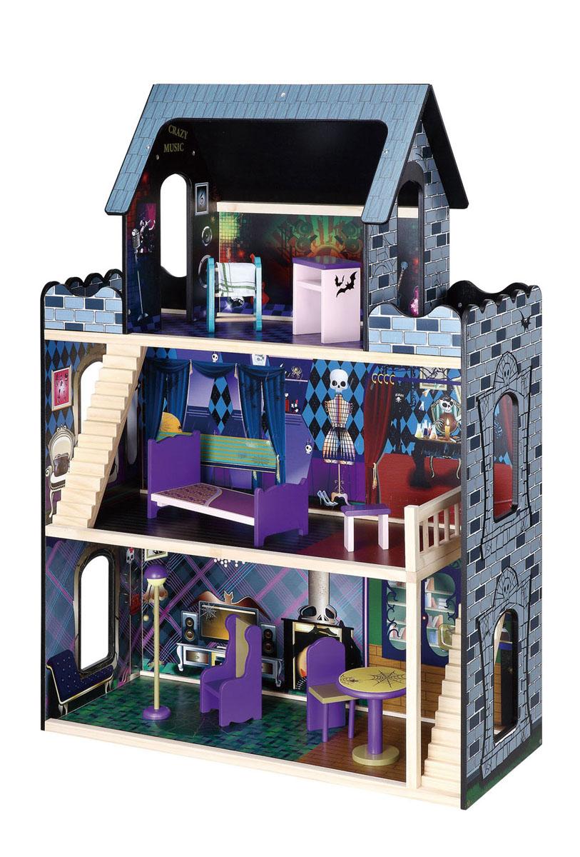 Balbi Дом для кукол Домик МонстровDH-132ДОМ МОНСТРОВ для девочек. Деревянный дом для детей от 3-х лет. 3-х этажный Домик изготовлен из дерева твердых пород, без химической обработки. Качественная обработка всех деталей набора и окраска натуральными красками обеспечивает безопасность для детей. В данном наборе 9 элементов: деревянная мебель, предметы домашнего обихода. Вся мебель сделана из дерева
