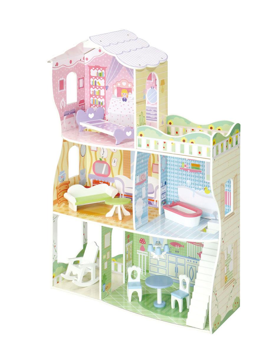 Balbi Дом для кукол Сказочный домикDH-140Игровой набор Balbi Сказочный домик станет отличным подарком для любой девочки. Трехэтажный домик имеет гостиную, ванную комнату, кухню и спальню. Этажи соединены лесенками. На нижнем этаже расположена веранда, а на верхнем этаже - открытый балкон. В домике есть вся необходимая мебель для комфортного проживания кукол: стол, стулья, кресло, кровать, диван и ванна. Часть интерьера нарисована на стенах самого домика. Домик изготовлен из дерева твердых пород, без химической обработки. Качественная обработка всех деталей набора и окраска натуральными красками обеспечивает безопасность для ребенка. С таким домиком ваша малышка может играть одна или с подружками, придумывая множество различных сценариев для игры!