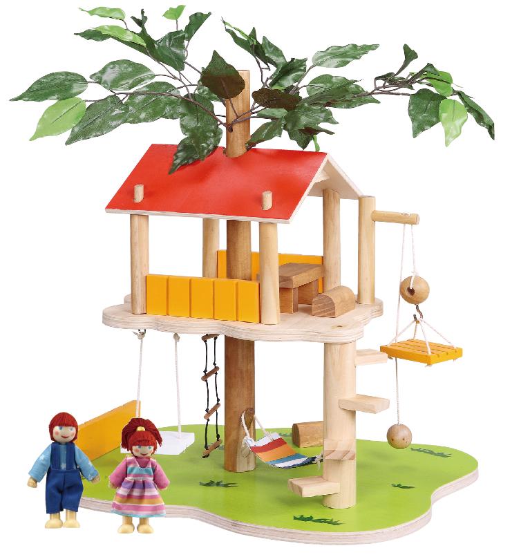 Balbi Дом для кукол Домик на дереве и 2 фигуркиTT-060Игровой набор Balbi Домик на дереве изготовлен из дерева твердых пород, без химической обработки. Качественная обработка всех деталей набора и окраска натуральными красками обеспечивает безопасность для детей. Домик на дереве оборудован подъемником, качелями, лестницами, ярким гамаком и необходимой мебелью. Домик прочно стоит на деревянной платформе. В комплекте, помимо домика, есть 2 фигурки его обитателей - мальчика и девочки. Игровой набор Balbi Домик на дереве - это отличный подарок для ребенка! Размер домика 40*43*30