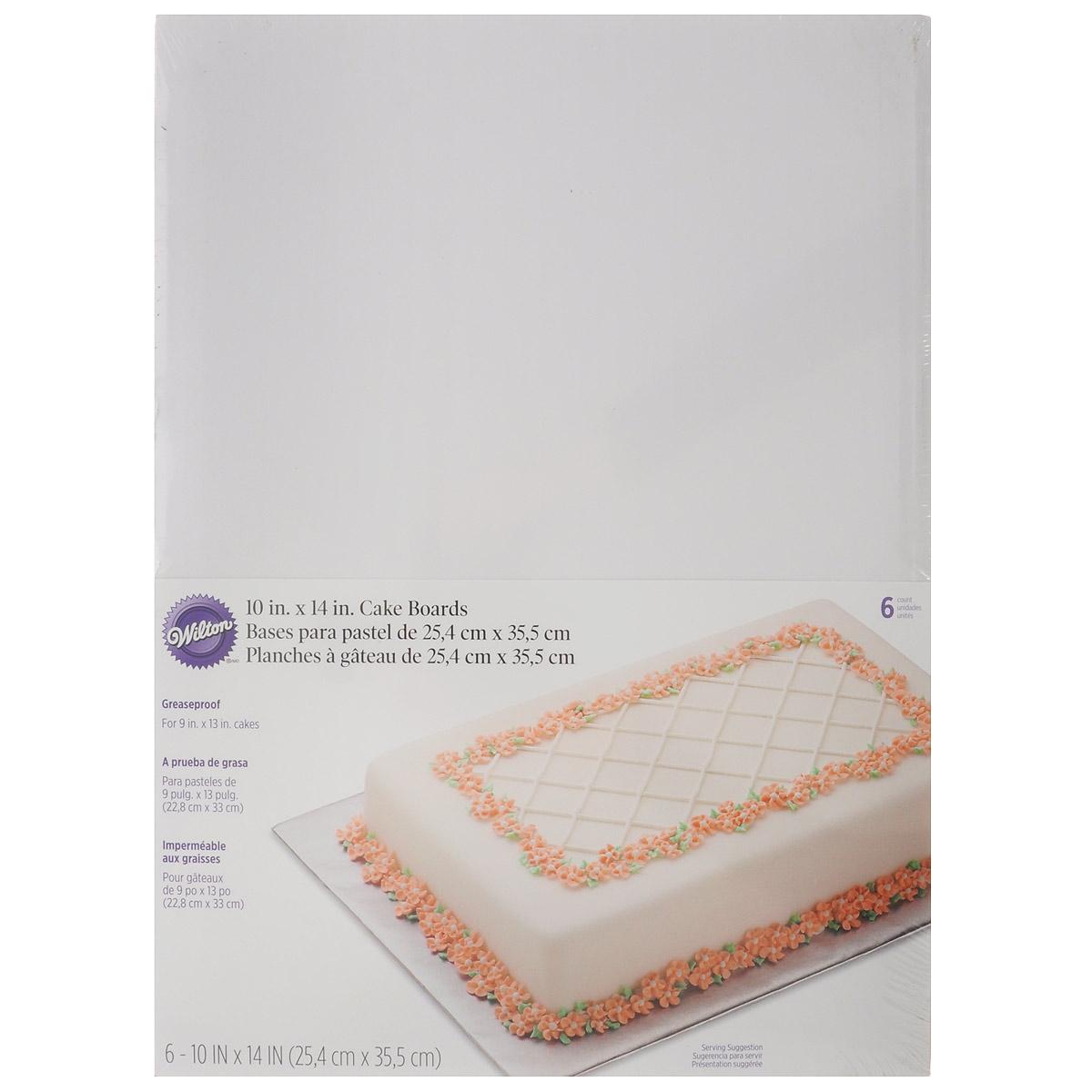 Основа для торта Wilton, прямоугольная, цвет: белый, 25,4 х 35,5 см, 6 штWLT-2104-554Прямоугольная основа Wilton выполнена из гофрированного картона. Используется для сервировки тортов, пиццы, небольших праздничных угощений, закусок и т.п. Размер: 25,4 см х 35,5 см. Толщина: 2 мм.