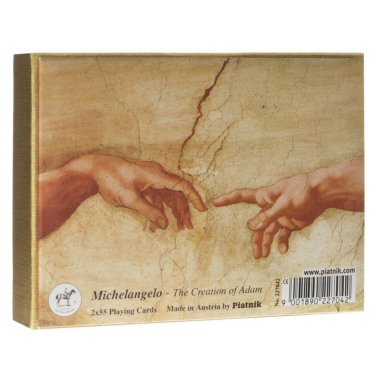 Набор игральных карт Piatnik Микеланджело - Создание Адама, цвет: белый, бежевый, 2 колоды. 22702270