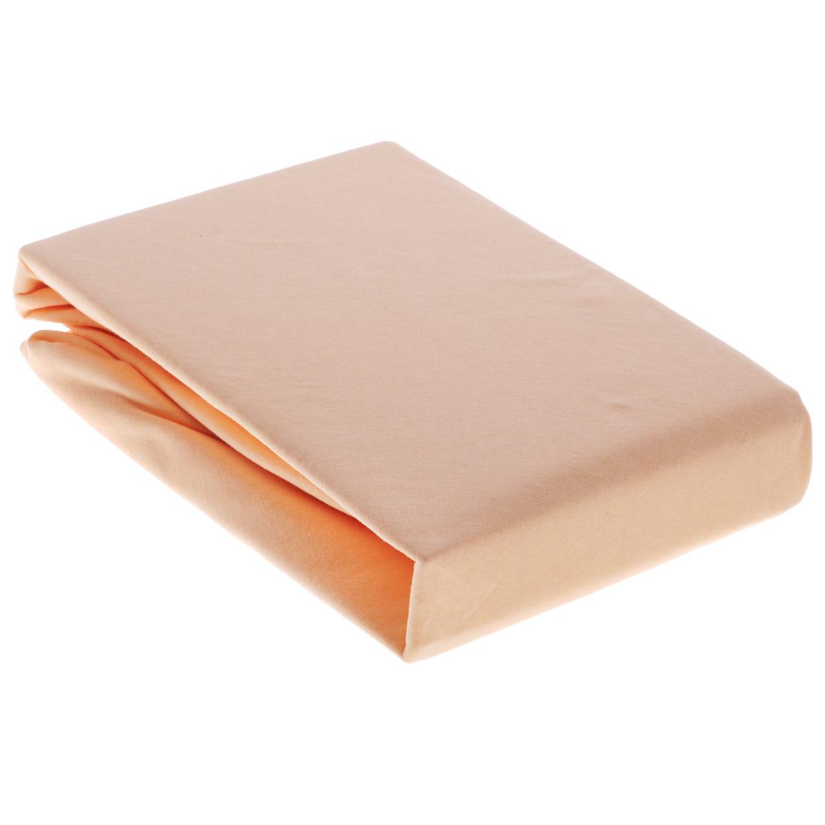 Простыня OL-Tex Джерси, на резинке, цвет: персиковый, 180 х 200 х 20 смПтр-180Простыня OL-Tex Джерси изготовлена из гладкокрашеного трикотажного полотна, не имеет швов. По всему периметру простыня снабжена резинкой. Изделие легко одевается на матрасы высотой до 20 см. Идеально подходит в качестве наматрасника. Рекомендации по уходу: - Ручная и машинная стирка при температуре 30°С. - Гладить при средней температуре до 150°С. - Не отбеливать. - Можно сушить и отжимать в стиральной машине. - Химчистка запрещена.