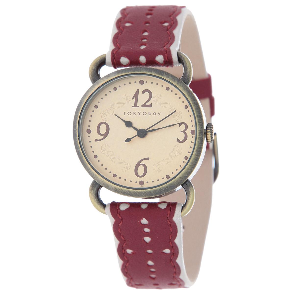 Часы женские наручные Tokyobay Doily, цвет: красный. T038-RDT038-RDНаручные часы Tokyobay - это стильное дополнение к вашему неповторимому образу. Эти часы созданы для современных девушек, ценящих стиль, качество и практичность. Часы оснащены японским кварцевым механизмом Miyota. Корпус выполнен из металла, не содержащего никель. Задняя крышка изготовлена из нержавеющей стали. Циферблат имеет три стрелки - часовую, минутную и секундную. Ремешок выполнен из натуральной кожи, украшен декоративной кожаной аппликацией и застегивается на классическую застежку-пряжку. Часы Tokyobay - это практичный и модный аксессуар, который подчеркнет ваш безупречный вкус. Характеристики: Корпус: 30 х 30 х 6 мм. Размер ремешка: 19 х 1,1 см. Не водостойкие.