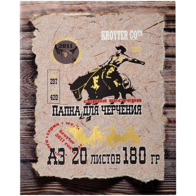 Папка для черчения Kroyter Western, 20 листов, формат А360113Папка для черчения Kroyter Western содержит набор листов ватмана для выполнения чертежно-графических работ карандашами, тушью и чернилами. В набор входит 20 листов плотностью 180 г/м2 и формата А3.
