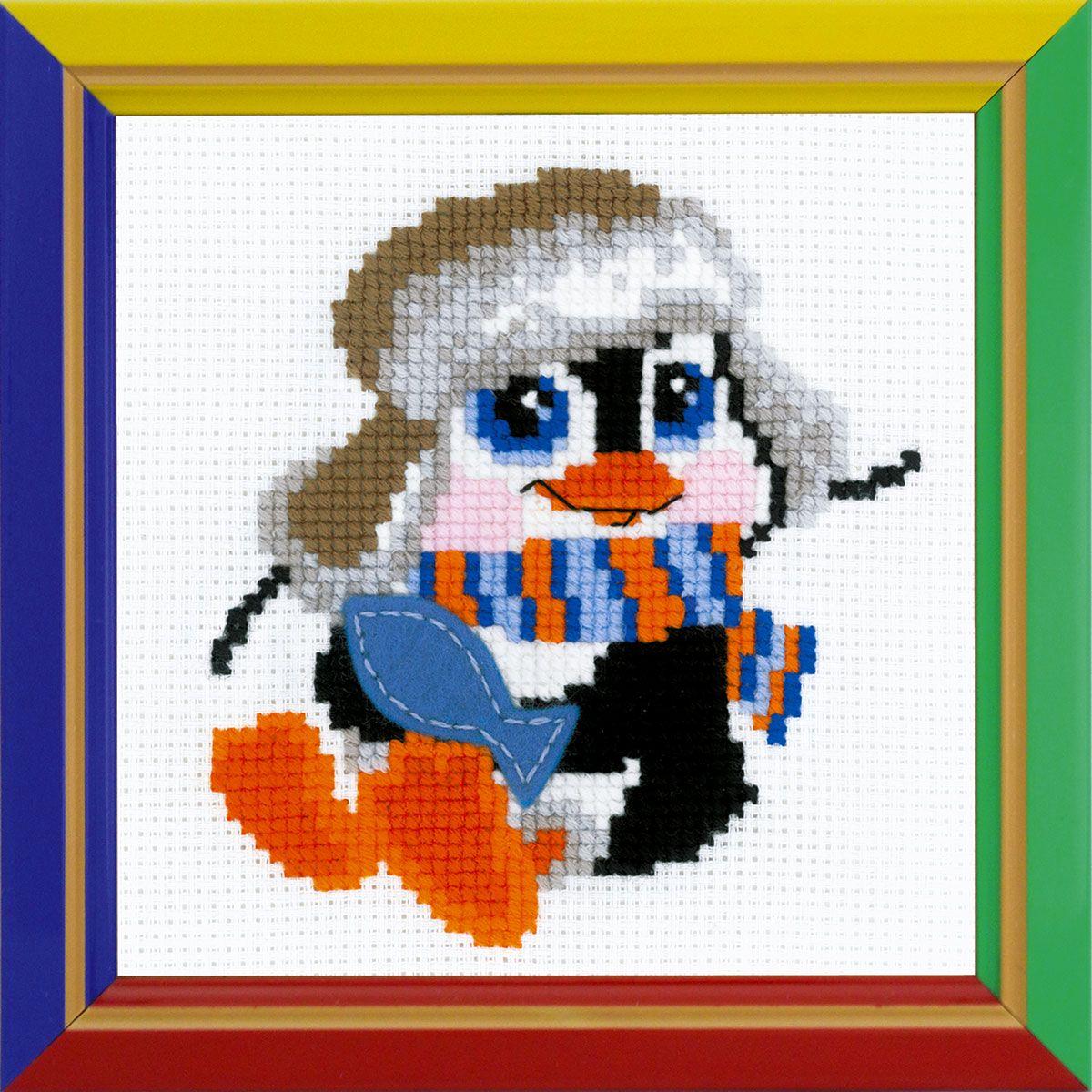 Набор для вышивания крестом Riolis Пингвиненок, 15 x 15 см 158НВ158Набор для вышивания Riolis Пингвиненок поможет вам создать свой личный шедевр - красивую картину, вышитую нитками мулине в технике счетный крест. Набор подойдет как детям, так и только начинающим рукодельницам. Работа, выполненная своими руками, станет отличным подарком для друзей и близких! Набор содержит: - белая канва Zweigart Aida 10; - шерстяные и акриловые нитки Safil (10 цветов); - фетр (1 цвет); - игла; - цветная схема.