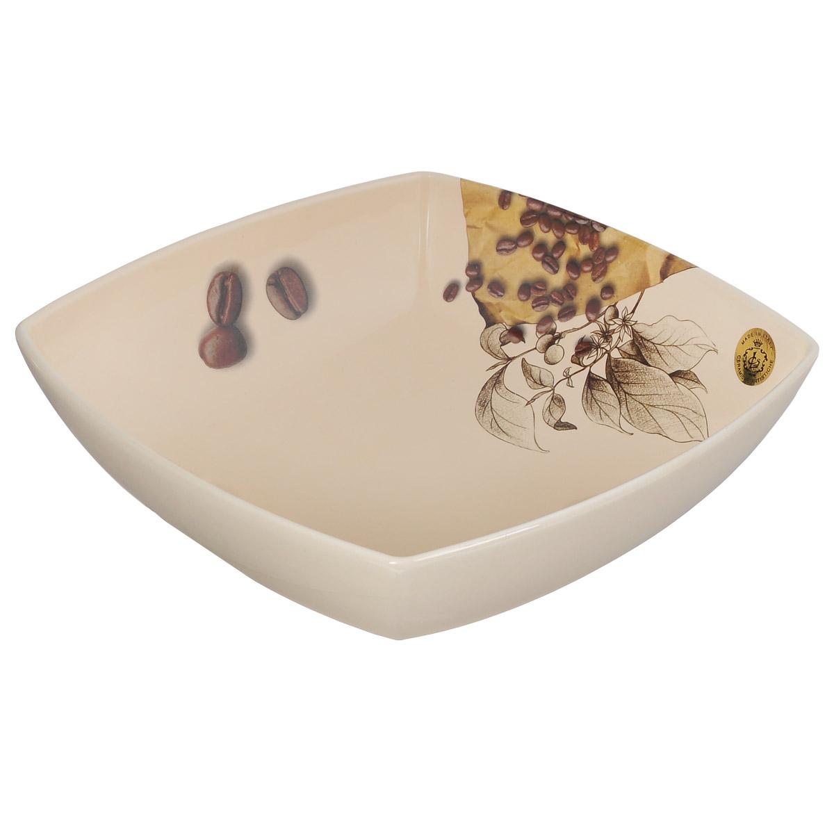 Салатник Sestesi Moka, 28 см х 28 смMOK311Глубокий салатник Sestesi Moka, изготовленный из высококачественной керамики, декорирован изображением кофейных зерен. Изделие сочетает в себе изысканный дизайн с максимальной функциональностью. Красочность оформления придется по вкусу и ценителям классики, и тем, кто предпочитает утонченность и изысканность. Керамический салатник Sestesi Moka украсит сервировку вашего стола и подчеркнет прекрасный вкус хозяина, а также станет отличным подарком. Можно мыть в посудомоечной машине и использовать в микроволновой печи. Размер салатника (по верхнему краю): 28 см х 28 см. Высота салатника: 9 см.
