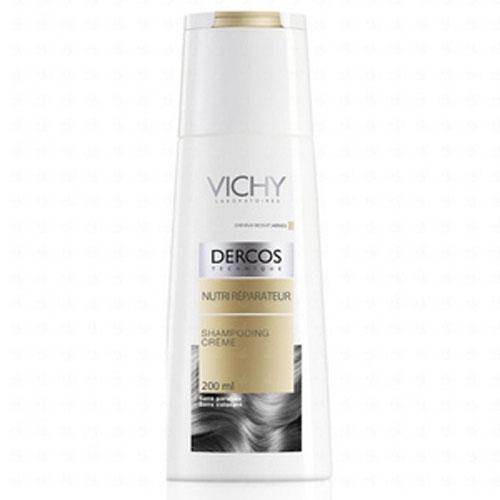 Vichy Шампунь-крем питательно - восстанавливающий для сухих волос Dercos, 200 мл7207372Мягко очищает волосы, облегчает расчесывание и оздорваливает одновременно. Склеивает и разглаживает чешуйки волоса. Надолго восстанавливает структуру волос, насыщая их протеинами и липидами. pH нейтральный.