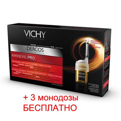 Vichy Интенсивное средство против выпадения волос для мужчин Dercos Aminexil Pro, 18 ампул по цене 15 ампулM3795700В основе средства 3 компонента, выполняющие определенные функции: Аминексил укрепляет корни волос, SP94 трансформируется в липиды и углеводы, необходимые для роста волос, Аргинин стимулирует микроциркуляцию, обеспечивая волосы необходимыми питательными элементами. Аппликатор - массажер позволяет равномерно и экономично распределять средство по коже головы, одновременно массируя её, улучшая проникновение активных компонентов в волосяной фолликул. Также средство представлено и для женщин Новый аппликатор - массажер позволяет равномерно и экономично распределять средство по коже головы, одновременно массируя её, улучшая проникновение активных компонентов в волосяной фолликул. В результате применения выпадение волос замедляется, волосы более сильные, объем волос увеличивается, волосы менее ломкие и более густые.