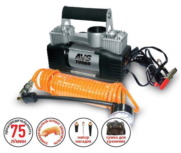Компрессор автомобильный AVS KS750D80505Автомобильный компрессор AVS KS750D предназначен для накачки воздухом шин легковых и коммерческих автомобилей. Рабочее напряжение компрессора - 12В. Высокая производительность делает возможным более широкое применение. Автомобильный компрессор может быть использован для накачки мячей, матрасов, проведения покрасочных работ. Преимущества: Высокотехнологичная сборка (основные детали сделаны из нержавеющей стали). Высокоточный двухшкальный манометр. Резиновые ножки. Автоматическая система защиты от перегрева. Напряжение: 12В. Максимальный ток потребления: 25 А. Максимальное давление: 10 Атм. Производительность: 75 л/мин. Рабочая температура: от -35°С до +80°С.