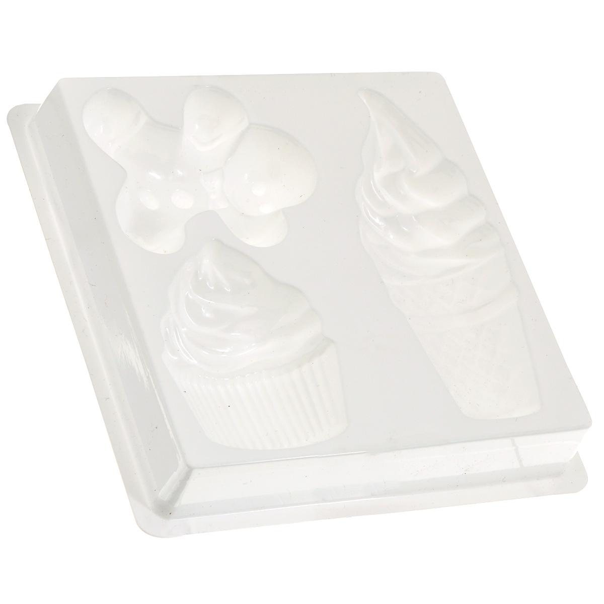 Форма пластиковая профессиональная Десерт, 13 см х 13 см х 2 см, 3 ячейки2700770021165Профессиональная форма Десерт изготовлена из пластика. На одном листе имеется три небольшие формы в виде кекса, мороженого и пряничного человечка, которые удобно расположены на подложке, поэтому лист надежно стоит на столе и с ним очень удобно работать. Изделие предназначено для изготовления мыла, массажных плиток, шоколадных конфет, плавающих свечей и используется при проведении мастер-классов, в работе с детьми (т.к. мыло быстро застывает и ребенок очень быстро увидит готовый результат). Общий размер формы: 13 см х 13 см х 2 см. Размер формы кекса: 5 см х 6 см х 1,2 см. Размер формы мороженого: 4 см х 10,5 см х 1,2 см. Размер формы пряничного человечка: 6 см х 5 см х 1,3 см. УВАЖАЕМЫЕ КЛИЕНТЫ! Обращаем ваше внимание, что возможно изменение в цвете товара.