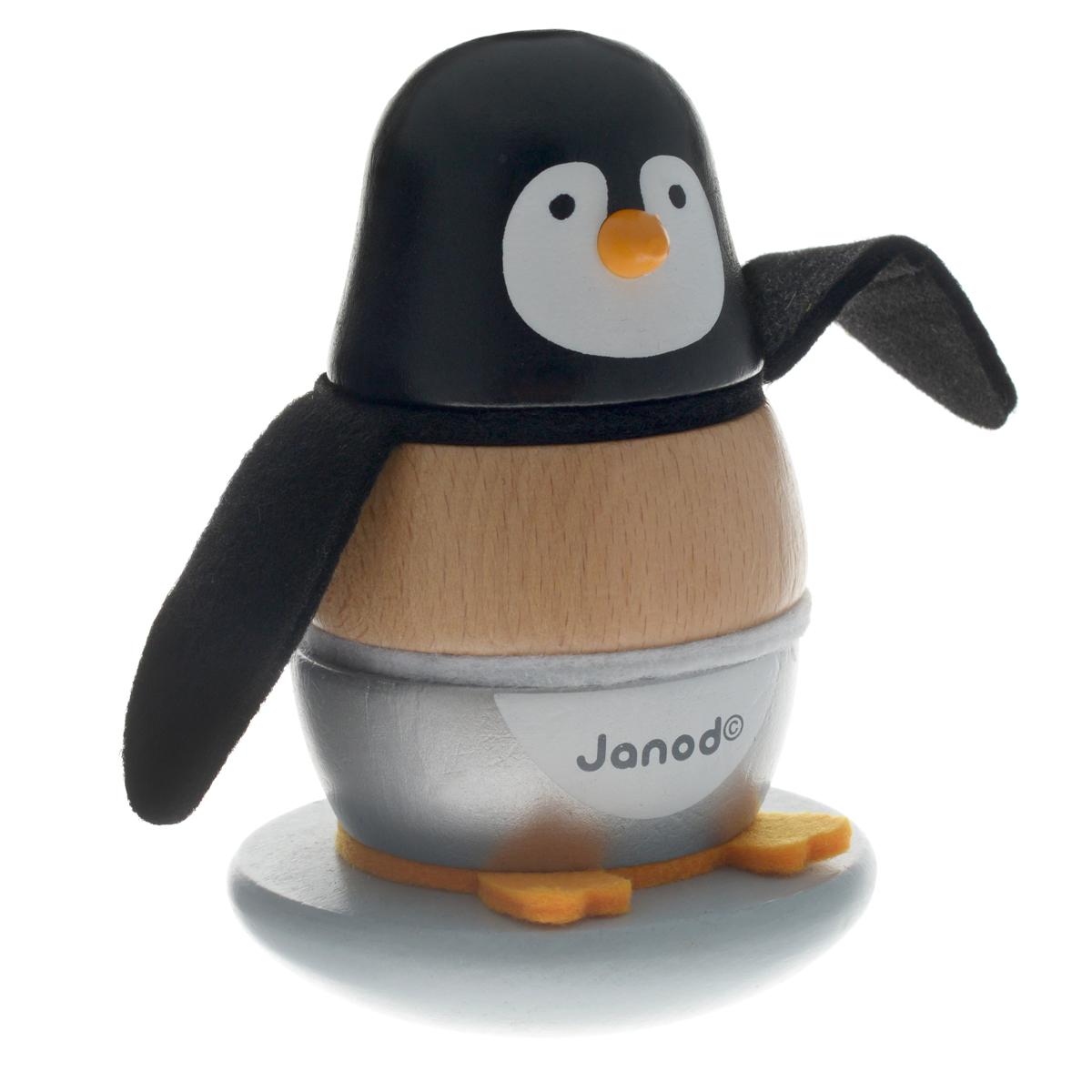 Пирамидка Janod ПингвинчикJ08127Пирамидка Janod Пингвинчик несомненно заинтересует вашего малыша. Яркая пирамидка выполнена в виде пингвина и состоит из основания со штырьком, на который нанизываются деревянные и текстильные элементы. Основание игрушки закруглено, благодаря чему она может раскачиваться, и ее трудно уронить. Игрушка выполнена из натуральной экологически чистой древесины и окрашена безвредными красками на водной основе. Игры с пирамидкой развивают у малышей мелкую моторику рук, координацию движений, знакомят с понятиями формы, цвета и размера предмета.