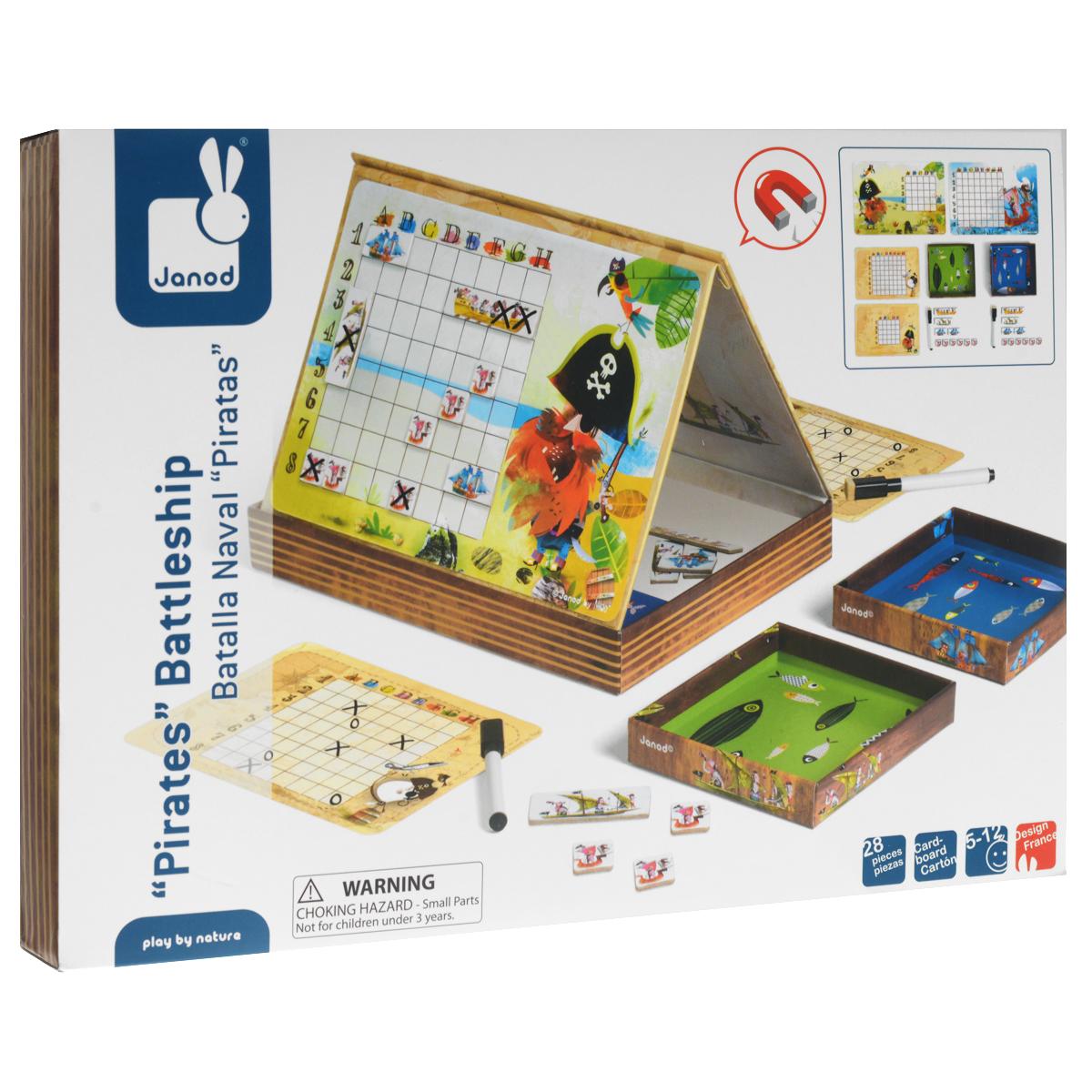 Настольная игра Janod Морской бой, магнитнаяJ02835Настольная игра Janod Морской бой популярна во всем мире как среди детей, так и взрослых. Комплект игры включает: раскладывающаяся двойная магнитная доска, 20 фишек в виде кораблей с магнитными элементами, 2 фломастера со стирающими элементами, 2 коробочки, 2 листа - игровых поля и 2 листа для отметок. В игре принимают участие двое. Каждый игрок получает 10 кораблей (6 маленьких красных, 2 синих, 1 зеленый, 1 большой желтый); маркер; коробочку для убитых кораблей; большой лист с игровым полем для размещения флота кораблей и маленький лист с чужим полем для отметки выстрелов по кораблям противника. Выберите уровень сложности игры на большом листе (начинающим - поле на 20 клеток и 5 маленьких красных кораблей; экспертам - поле на 64 клетки и все 10 кораблей) и закрепите его на поверхности для игры внутри пластиковых уголков. Разместите магнитные корабли на клетках. Не размещайте корабли между клетками на линиях. Перед началом боевых действий игроки...