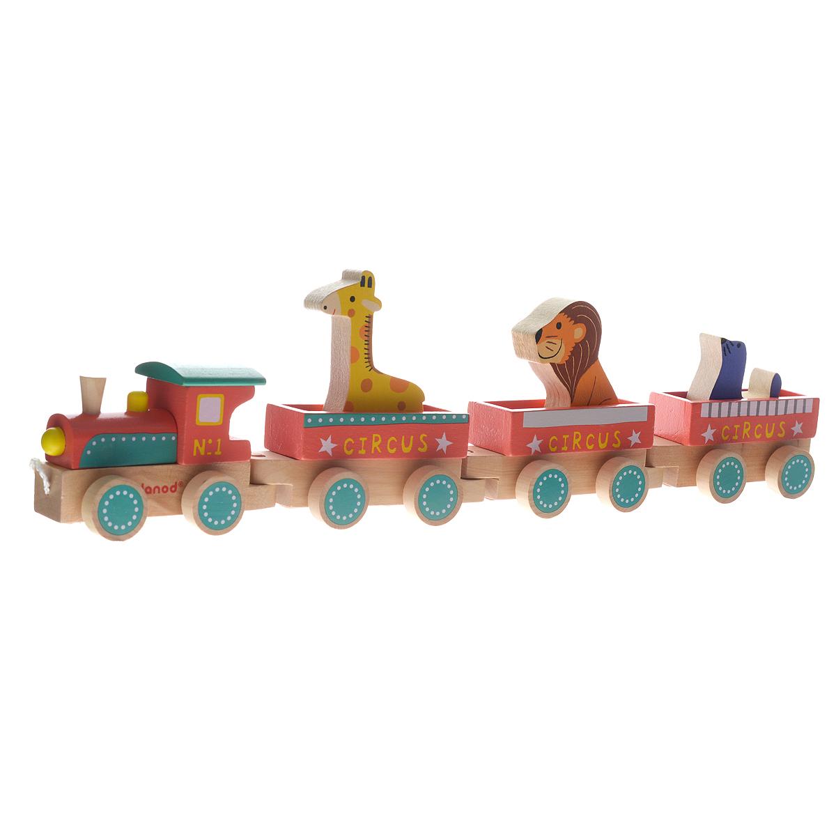 Деревянная каталка Janod Поезд ЦиркJ08537Кто сказал, что поезд может ехать только по рельсам? А если маленькому машинисту нужно доставить своих друзей-зверюшек в другую комнату или покатать по детской площадке? Для этого подойдет каталка на веревочке Janod Поезд Цирк. В комплект входят паровозик-локомотив, три вагончика и фигурки в виде льва, тюленя и жирафа. Элементы выполнены из натурального дерева с использованием нетоксичных красок. Паровозик и три вагончика имеют основание цвета натурального дерева с двумя колесными парами. Соединяются они по принципу шип-паз и поэтому успешно маневрируют. Паровозик раскрашен в яркие цвета; в вагоны можно посадить входящие в комплект фигурки или небольшие игрушки. За текстильный шнурок малыш сможет возить паровозик за собой. Во время игры ребенок познакомится с основными цветами, научится различать фигуры, форму и цвет, тренировать логическое мышление и мелкую моторику пальчиков рук.
