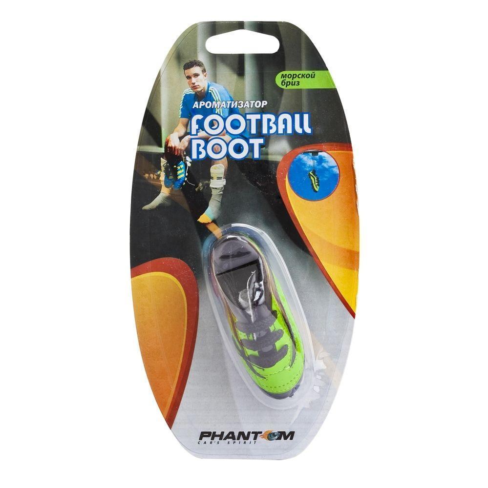 Ароматизатор Phantom Football boot, морской бриз3168Еще один продукт для футбольных болельщиков - яркие бутсы! Бутсы сшиты как уменьшенная копия настоящей обуви спортсменов - с прошивками, шипами и шнурками. Наполнитель из ароматического волокна позволяет удерживать запах в течение длительного времени, а двойной блистер предотвращает выветривание запаха во время хранения. Подвесной тип крепления. Синтетическое волокно, заменитель кожи, отдушка
