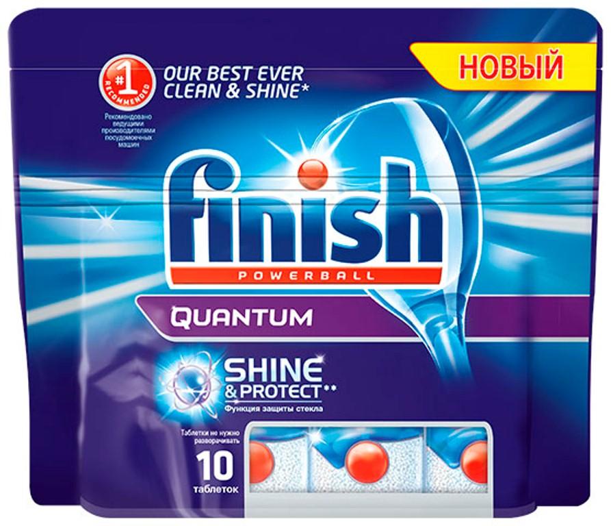 Finish Quantum Блеск и Защита, 10 таблеток9439Новый Finish Quantum Блеск и Защита - это удобные таблетки для посудомоечной машины, которые оказывают тройное действие против жира и грязи, а также придают исключительный блеск и защищают стеклянную посуду от коррозии. Товар сертифицирован.