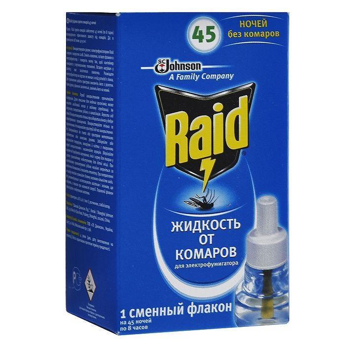Жидкость для фумигатора от комаров Raid, на 45 ночей632262Жидкость для фумигатора Raid обеспечивает 45 ночей (по 8 часов) непрерывной эффективной защиты от комаров. Действует в помещении объемом до 50 м3. Эффективна даже при открытых окнах. Не имеет запаха.