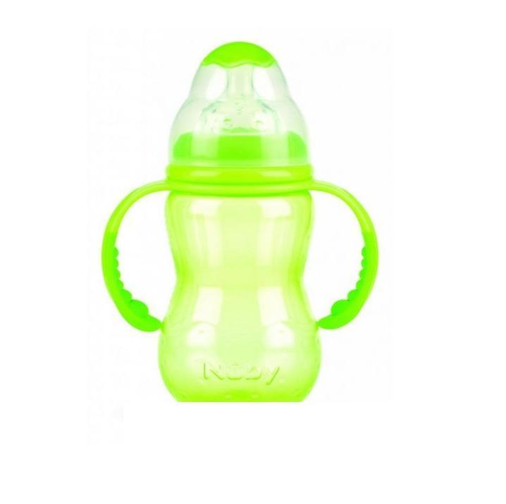 NUBY Бутылочка с антиколиковой системой, 300 мл, цвет: зеленый. ID1095ID1095/зеленыйСиликоновая бутылочка Nuby с соской быстрый поток и защитным колпачком, 300 мл., от 0 мес. Уникальная соска Natural Touch - новый стандарт ширины основания, которое особенно значимо для комфортного кормления малыша, т.к. повторяет внешнее, анатомическое строение ареолы соска груди матери. Знакомые форма и размер обеспечивают легкое принятие соски. Естественное движение повторяет динамику груди во время кормления, мягко изгибаясь и удлиняясь. Это создает ощущение естественности и, главное, позволяет малышу захватывать сосок под правильным углом, что положительно сказывается на его прикусе и формировании естественных сосательных рефлексов.