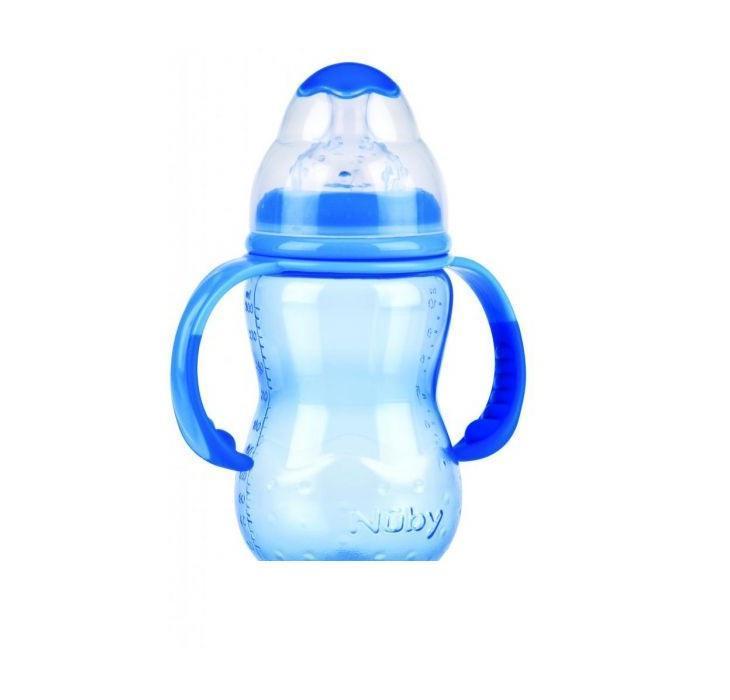 NUBY Бутылочка с антиколиковой системой, 300 мл, цвет: голубой. ID1095