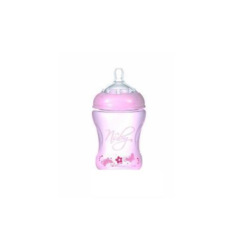 NUBY Бутылочка с антиколиковой системой, 240 мл, цвет: розовый. NT68008