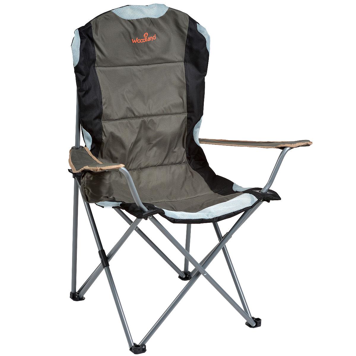 Кресло складное Woodland Deluxe, 63 см x 63 см x 110 см0036502Складное кресло Woodland Deluxe предназначено для создания комфортных условий в туристических походах, охоте, рыбалке и кемпинге. Особенности: Компактная складная конструкция. Прочный стальной каркас с покрытием, диаметр 18 мм. Удобные подлокотники с отделением для напитка. Водоотталкивающее ПВХ покрытие ткани Oxford 600D. В комплекте чехол для перевозки.