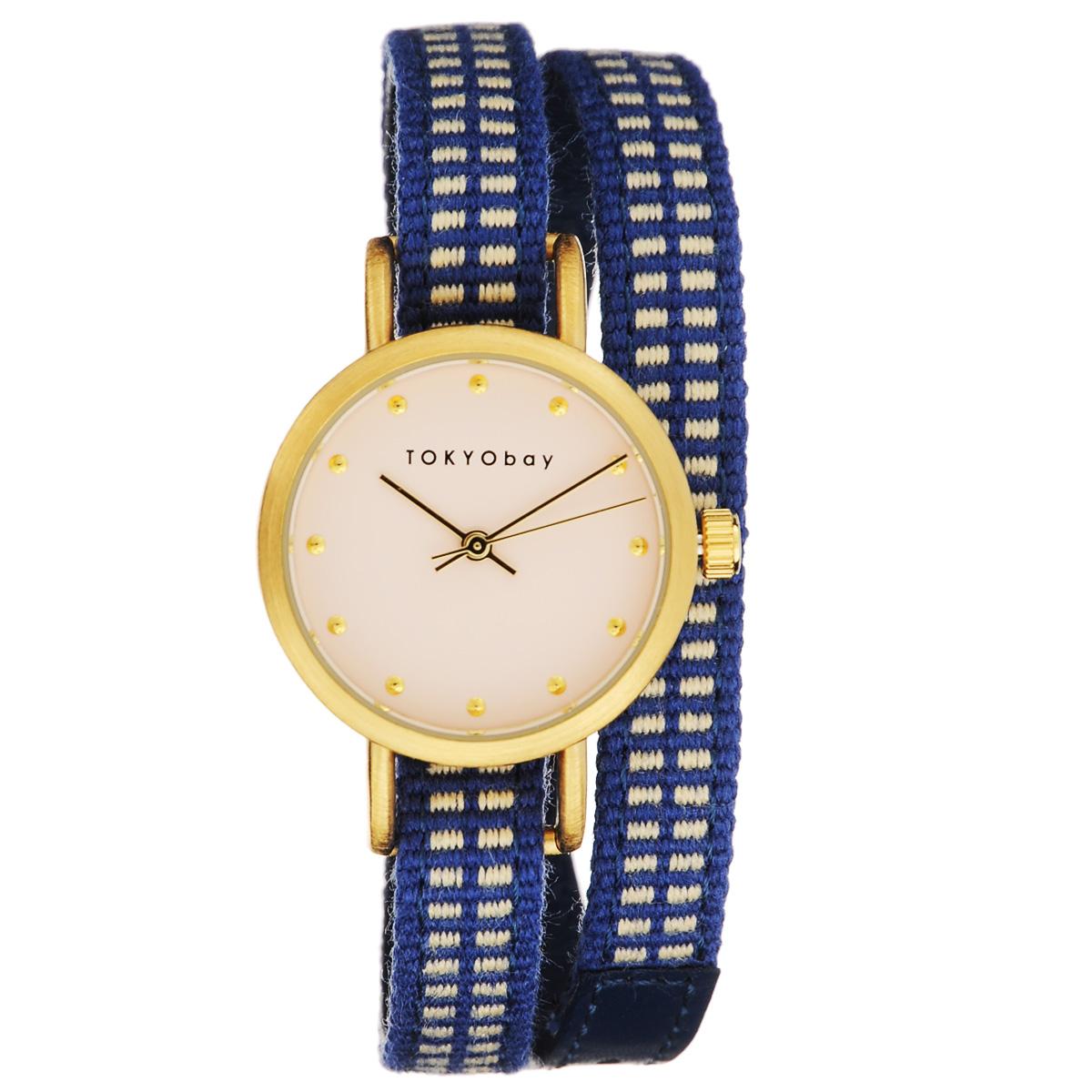 Часы женские наручные Tokyobay Obi, цвет: синий. T233-BLT233-BLНаручные часы Tokyobay Obi - это стильное дополнение к вашему неповторимому образу. Эти часы созданы для современных девушек, ценящих стиль, качество и практичность. Часы оснащены японским кварцевым механизмом Miyota. Корпус круглой формы выполнен из сплава металлов, не содержащего никель. Задняя крышка изготовлена из нержавеющей стали. Циферблат оформлен металлическими отметками, имеет три стрелки - часовую, минутную и секундную. Циферблат защищен ударопрочным оптическим пластиком. Ремешок выполнен из натуральной кожи и плотного текстиля, застегивается на классическую застежку. Часы Tokyobay - это практичный и модный аксессуар, который подчеркнет ваш безупречный вкус. Характеристики: Корпус: 2,2 х 2,2 х 0,7 см. Размер ремешка: 37 х 0,8 см. Не содержит никель. Не водостойкие.