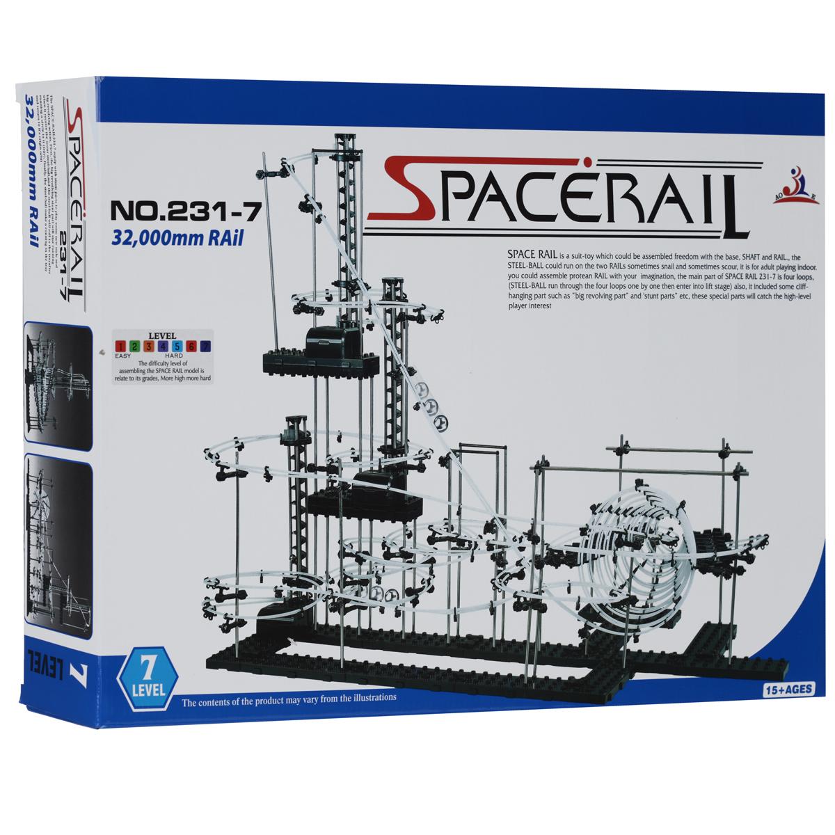 Space Rail Конструктор Уровень 7 231-7231-7Конструктор Space Rail - космическая трасса, представляет собой отличную пространственную головоломку, которая увлечет всю семью от мала до велика! Процесс сборки доставит удовольствие и детям, и родителям, а запуск космической трассы приведет всех в восторг. Вы сможете построить захватывающие дороги общей длиной до 32 метров и сами задать траектории, по которым стремительно будут проноситься металлические шарики. Это интереснейший аттракцион, напоминающий американские горки, за которым можно наблюдать часами. Комплект включает элементы для сборки модели, 8 металлических шариков и схематичную инструкцию, которая позволит собрать конструкцию правильно и быстро. Сборка конструктора поможет ребенку развить пространственное мышление и фантазию. Собранная модель станет изюминкой вашего дома и привлечет внимание окружающих. Вы и ваш ребенок сможете гордиться тем, что самостоятельно собрали такой аттракцион. Характеристики: Материал: пластик, металл. ...