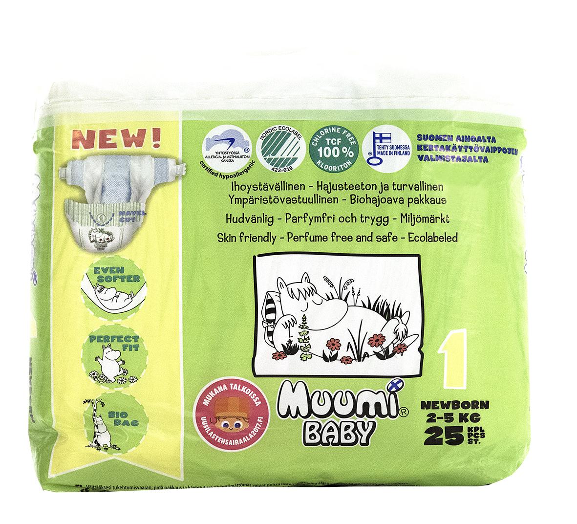 Muumi Подгузники Бейби Ньюборн 1, 2-5 кг, 25 шт58705Подгузники Muumi - это 100% биоразлагающиеся одноразовые гипоаллергенные подгузники, обладающие хорошей впитываемостью. Подгузники без ароматизации, очищены кислородом, без хлора. Не содержат оптических осветлителей, латекса, формальдегида и фталатов. Впитывающий слой состоит из полностью биоразлагающейся, бесхлорной финской целлюлозы. Дерматологически тестированы.