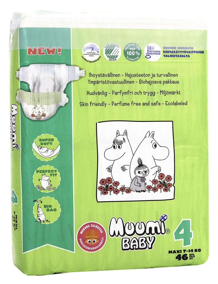 Muumi Подгузники Бейби Макси 4, 7-14 кг, 46 шт58735Подгузники Muumi - это 100% биоразлагающиеся одноразовые гипоаллергенные подгузники, обладающие хорошей впитываемостью. Подгузники без ароматизации, очищены кислородом, без хлора. Не содержат оптических осветлителей, латекса, формальдегида и фталатов. Впитывающий слой состоит из полностью биоразлагающейся, бесхлорной финской целлюлозы. Дерматологически тестированы.