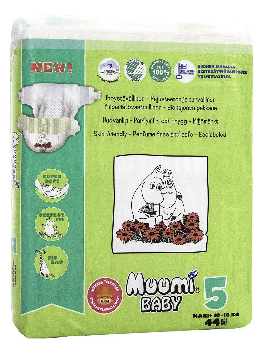 Muumi Подгузники Бейби Макси плюс 5, 10-16 кг, 44 шт58745Подгузники Muumi - это 100% биоразлагающиеся одноразовые гипоаллергенные подгузники, обладающие хорошей впитываемостью. Подгузники без ароматизации, очищены кислородом, без хлора. Не содержат оптических осветлителей, латекса, формальдегида и фталатов. Впитывающий слой состоит из полностью биоразлагающейся, бесхлорной финской целлюлозы. Дерматологически тестированы.