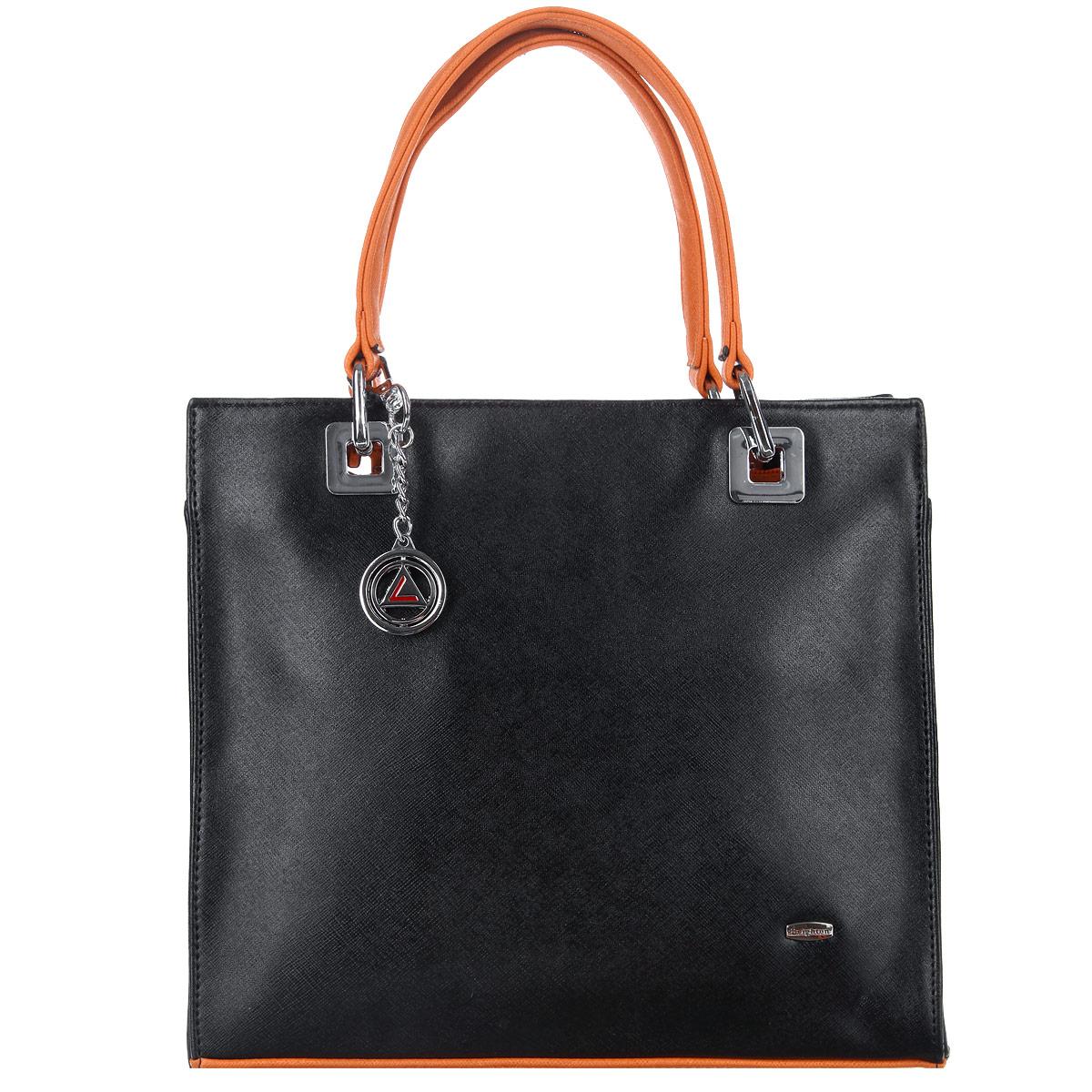 Сумка женская Leighton, цвет: черный, оранжевый. 560299-3769560299-3769/1/3769/17 черИзысканная женская сумка Leighton выполнена из высококачественной искусственной кожи с контрастными вставками и украшена брелоком. Сумка закрывается на застежку-молнию. Внутри одно отделение, разделенное карманом-средником на застежке-молнии, также есть два накладных кармашка для мелочей и телефона и втачной кармашек на застежке-молнии. Задняя сторона дополнена плоским врезным карманом на застежке-молнии. Ручки сумки крепится на металлическую фурнитуру. Дно сумки защищено металлическими ножками, обеспечивающими дополнительную устойчивость. В комплекте чехол для хранения. Яркий дизайн сумки, сочетающий классические формы с оригинальным оформлением, позволит вам подчеркнуть свою индивидуальность и сделает ваш образ изысканным и завершенным.