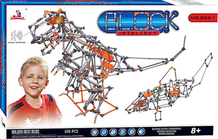 Intellect Block Конструктор Динозавр253-1Конструктор Intellect Block позволит вашему ребенку весело и с пользой провести время. Набор включает в себя 626 пластиковых элементов, с помощью которых можно собрать множество подвижных конструкций. Ребенок может воспользоваться примерами из буклета или проявить фантазию, создав собственный шедевр. Некоторые элементы конструктора оснащены детектором движения, другие при нажатии на кнопку светятся зеленым светом, что добавляет той или иной модели реалистичности. Особые моторчики способны оживить некоторые конструкции. Также в набор входит схематичная инструкция по сборке моделей. Конструктор Intellect Block поможет ребенку развить мелкую моторику рук, координацию движений и усидчивость. Характеристики: Материал: пластик, текстиль. Размер упаковки (ДхШхВ): 60 см x 38 см x 7 см. Необходимо докупить 4 батареи типа АА напряжением 1,5V (не входят в комплект).
