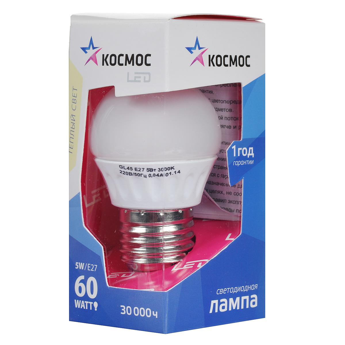 Светодиодная лампа Kosmos, теплый свет, цоколь E27, 5W, 220V