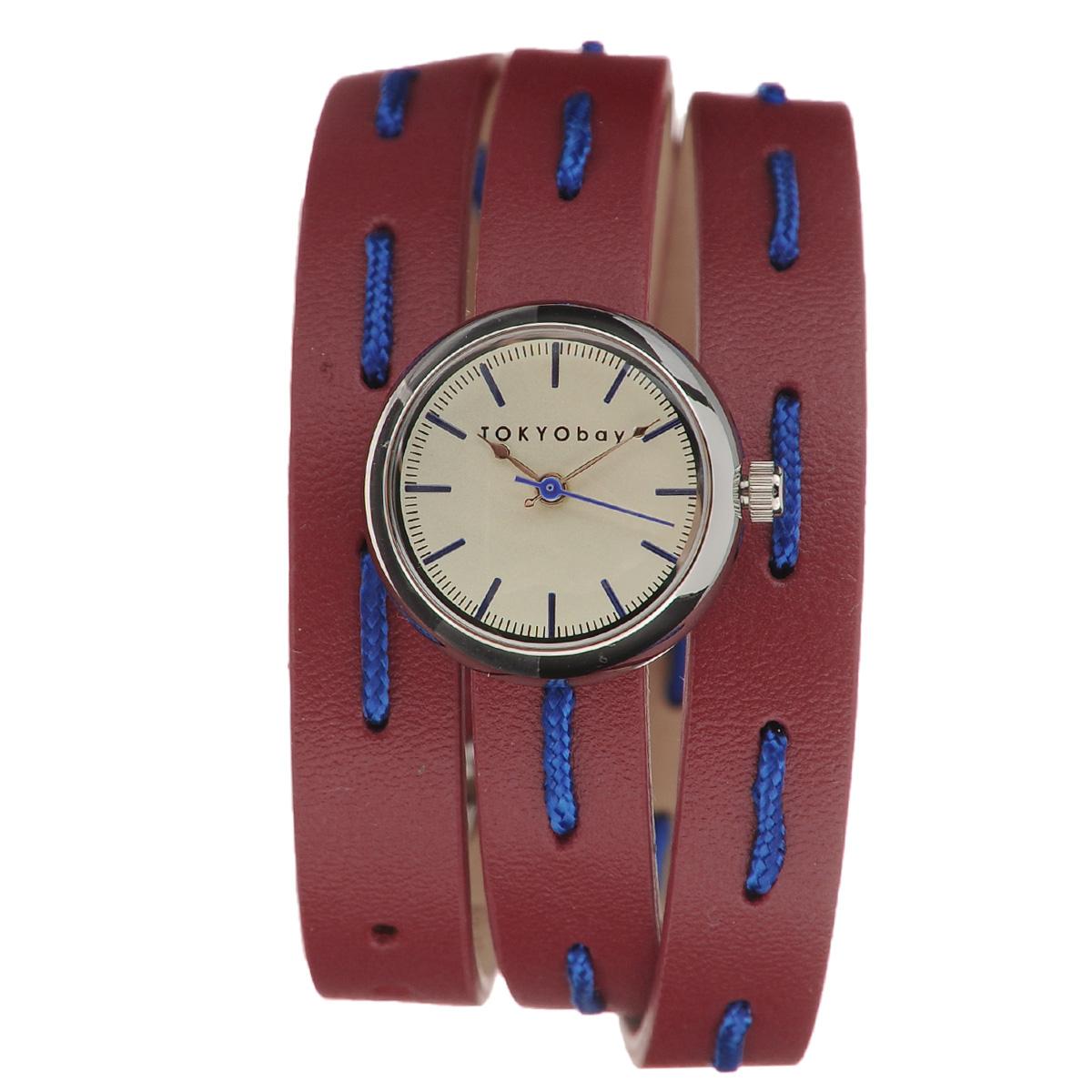 Часы женские наручные Tokyobay Frida, цвет: красный, синий. T7322-RDT7322-RDНаручные часы Tokyobay Frida - это стильное дополнение к вашему неповторимому образу. Эти часы созданы для современных девушек, ценящих стиль, качество и практичность. Часы оснащены японским кварцевым механизмом Miyota. Корпус круглой формы выполнен из сплава металлов, не содержащего никель. Задняя крышка изготовлена из нержавеющей стали. Циферблат оформлен металлическими отметками, имеет три стрелки - часовую, минутную и секундную. Циферблат защищен ударопрочным оптическим пластиком. Узкий ремешок, выполненный из натуральной кожи, обхватывает запястье в три оборота и застегивается на классическую застежку-пряжку. Ремешок оформлен декоративными стежками. Часы Tokyobay - это практичный и модный аксессуар, который подчеркнет ваш безупречный вкус. Характеристики: Корпус: 18 х 18 х 8 мм. Размер ремешка: 54 х 1,1 см. Не водостойкие.