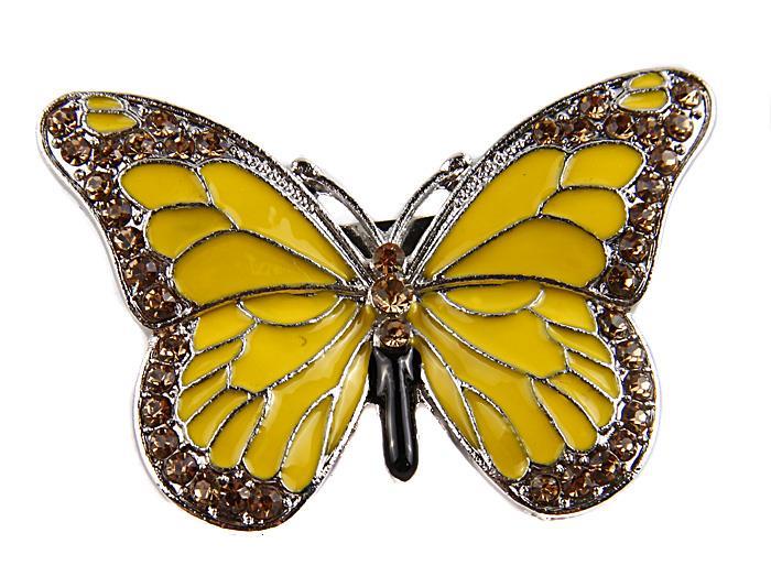 Брошь Желтая бабочка. Металл, полихромные эмали, австрийские кристаллы. Конец XX векаАРТ, BR0002Брошь Желтая бабочка. Металл, полихромные эмали, австрийские кристаллы. Западная Европа, конец XX века. Размеры 5 х 3,5 см. Сохранность хорошая. Очаровательная яркая брошь, выполненная в виде маленькой бабочки. Аксессуар украшен желтой эмалью и инкрустирован множеством желтых сверкающих страз разных форм и размеров. Эта изысканная брошь станет стильным украшением для романтичной и творческой натуры и гармонично дополнит Ваш наряд, станет завершающим штрихом в создании образа.
