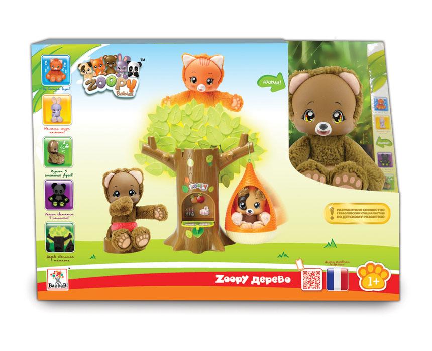 Zoopy Игровой набор Дерево BaobaBТ57055Игровой набор Zoopy Дерево BaobaB непременно порадует вашего малыша. Один из малышей Zoopy обрел новый дом. У него появилось собственное гнездо и дерево, на которое это его можно повесить. Кроме этого у медвежонка, который может сосать лапу, есть еще и пенек, где он может присесть отдохнуть. Но если и это занятие наскучит, можно залезть в дупло дерева и оттуда наблюдать за окружающим миром. Малыш способен издавать пять забавных звуков, для этого нужно несильно нажать на его животик, а его лапки могут светиться в темноте. Все элементы набора выполнены из прочных материалов. Для работы игрушки необходима одна батарейка типа AAA(входит в комплект).