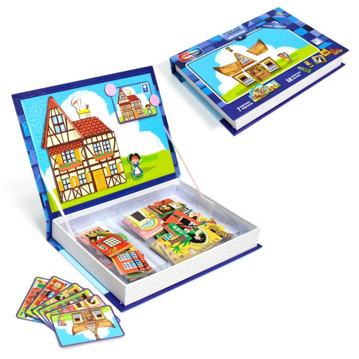1TOY Настольная игра МагБук мозаика с магнитами ЦивилизацияТ57383Интереснейший развивающий фантазию игровой набор Цивилизация серии МагБук от 1toy сделан в виде книги, внутри которой вы найдете 7 карточек-подсказок с изображениями домиков разных стран, и 58 магнитных деталей, из которых нужно собрать готовые картинки, прикрепляя их на обложку-крышку с металлической основой внутри. При игре можно как ориентироваться на подсказки в наборе, так и создавать свои собственные шедевры.